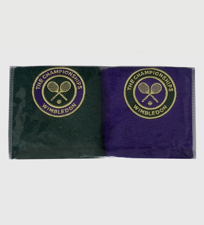 Spaces Purple And Green 100% Cotton 12 x 12 Inch Wimbledon Face Towel - Set of 2