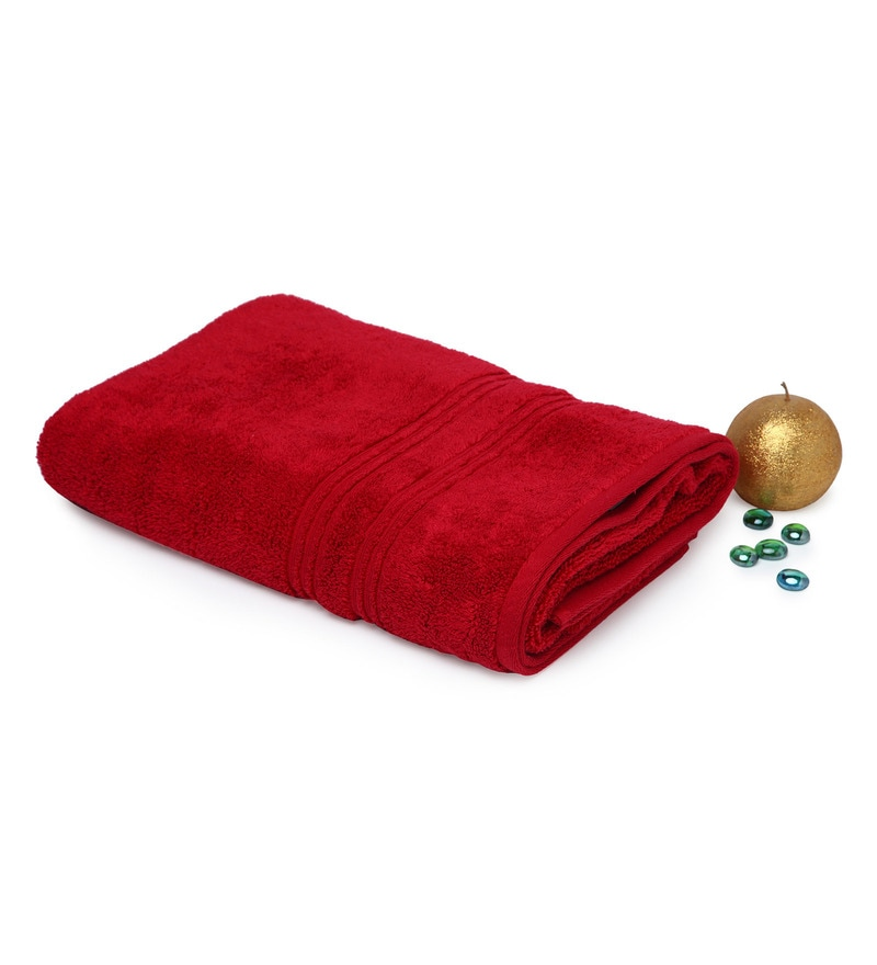 Red 100% Cotton 27 x 59 Inch Swift Dry Towel by Spaces