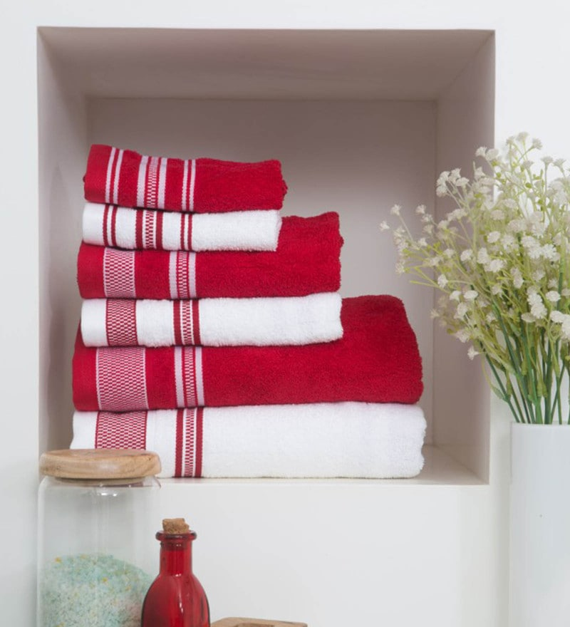 Red 100% Cotton Bath Carnival Towels - Set of 5 by Spaces