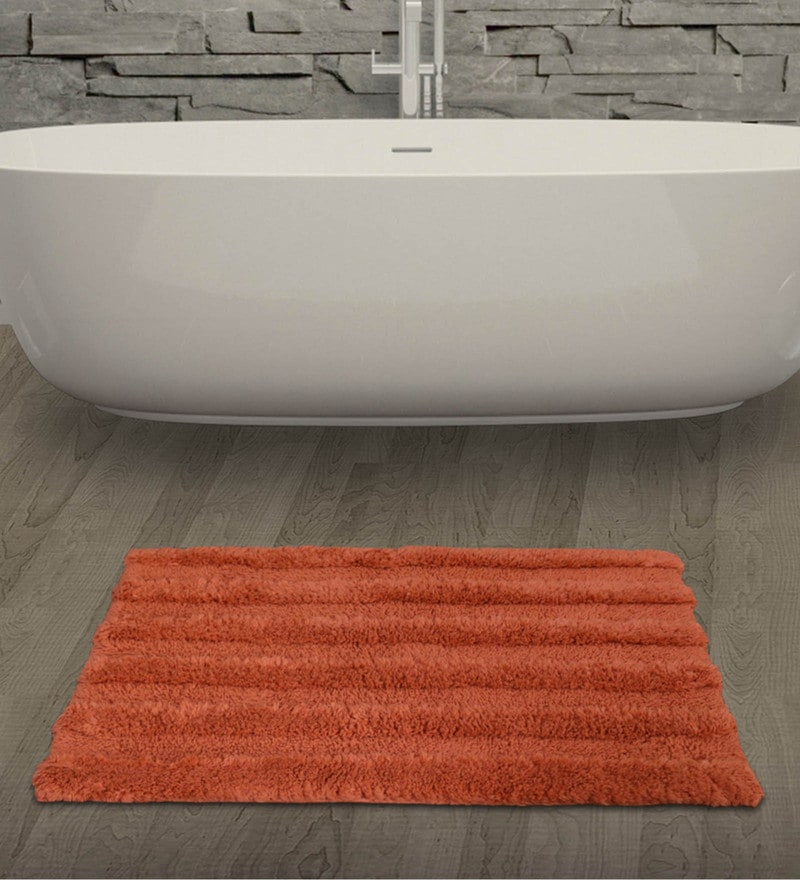 Spaces Rust 100% Cotton 20 x 31 Inch Swift Dry Large Bath Mat