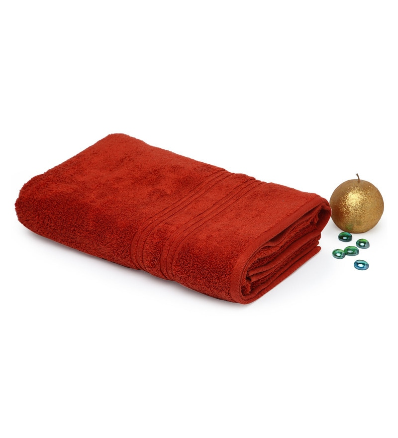 Spaces Rust 100% Cotton 27 x 59 Inch Swift Dry Bath Towel