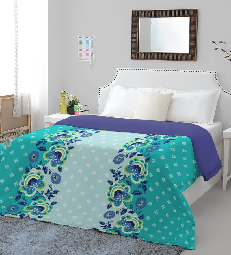Spaces Teal Navy Cotton And Polyester 86 x 94 Inch Allure Double Comforter