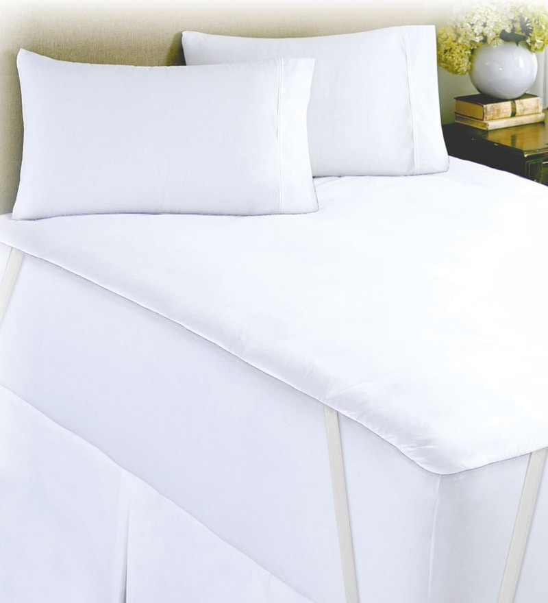 White 100% Cotton 60 x 72 Inch Goodnight Sleep Queen Mattress Protector by Spaces