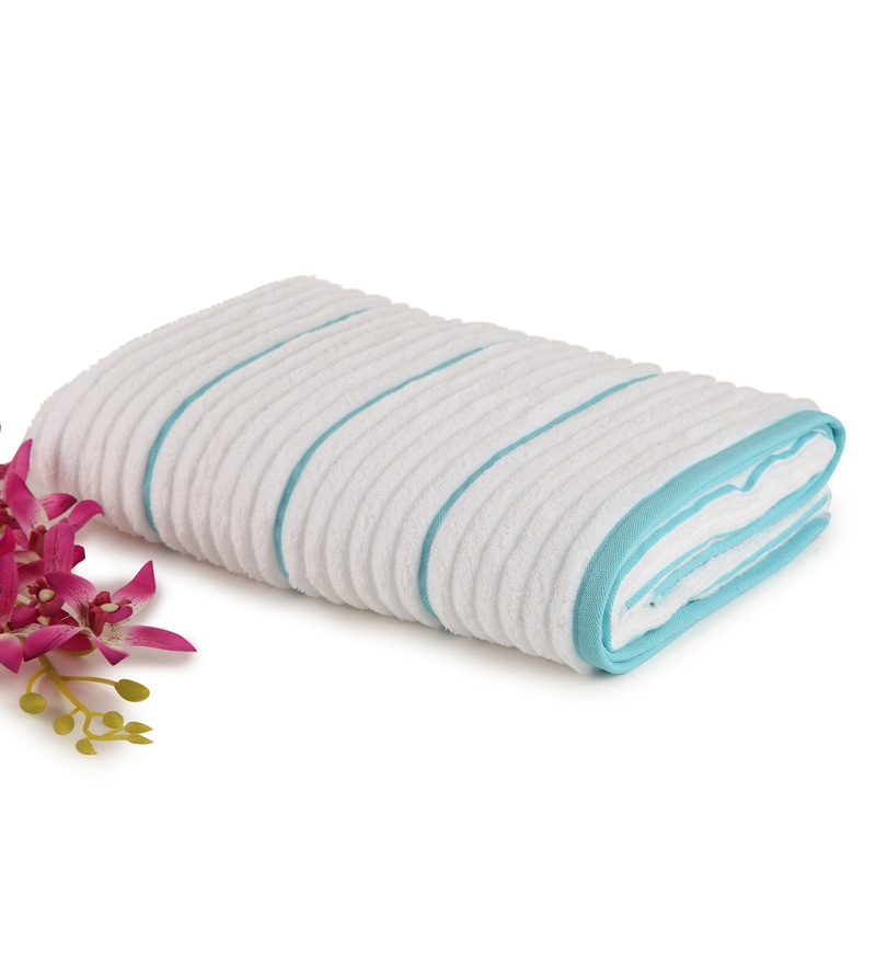 White And Aqua 100% Cotton 30 x 60 Inch Exotica Towel by Spaces