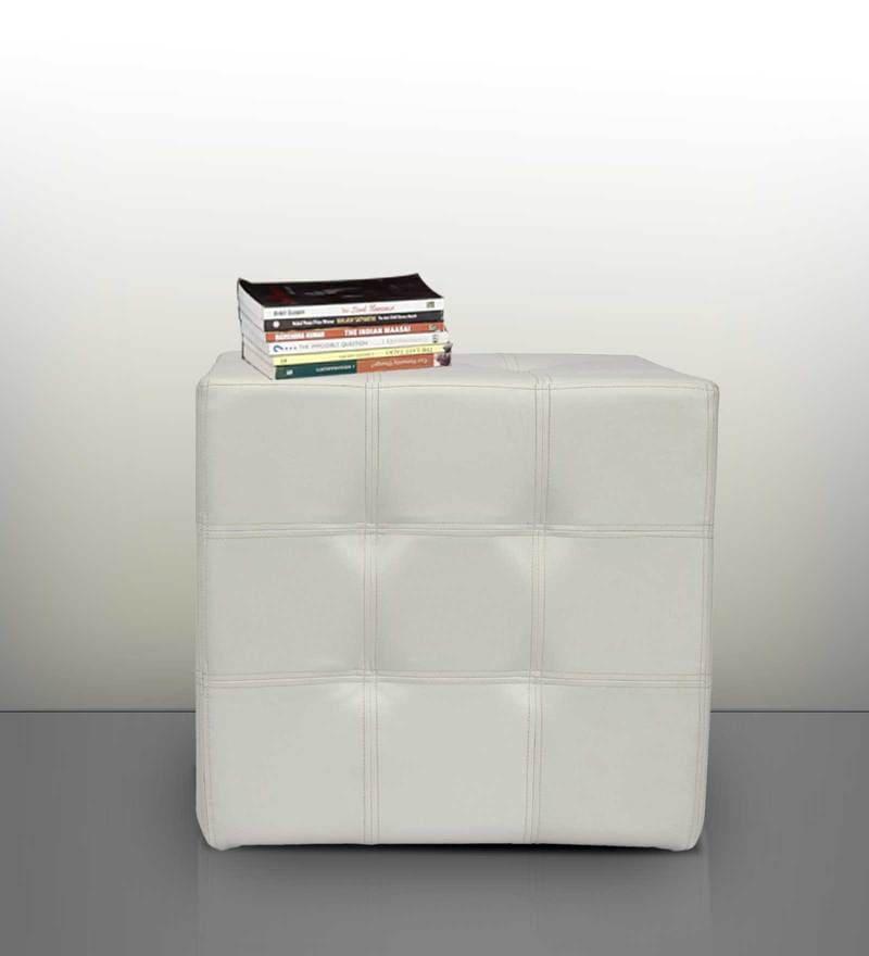 Spazio Classic Tufted Ottoman in White Colour by SIWA Style