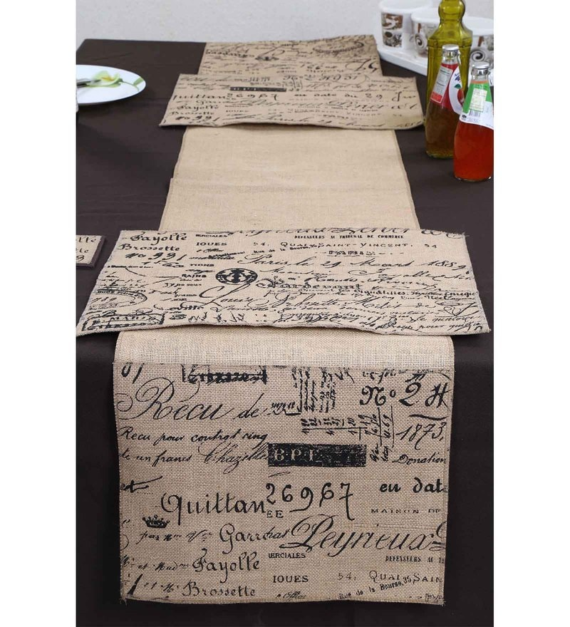 Spiral Kitchen Burlap Calligraphy Beige & Black Jute Table Runners with Mats - Set of 3