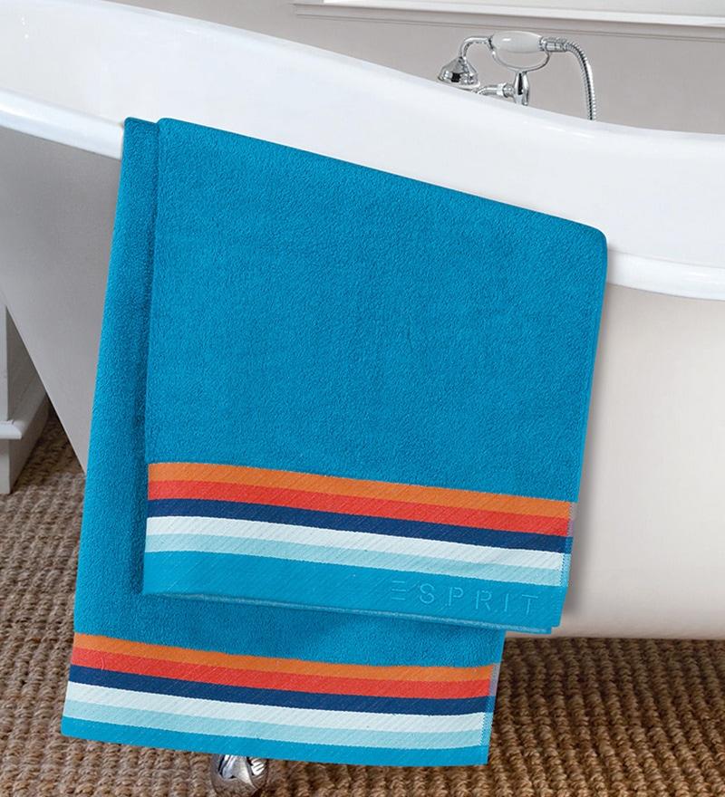 Blue Cotton Hand Towel by ESPRIT