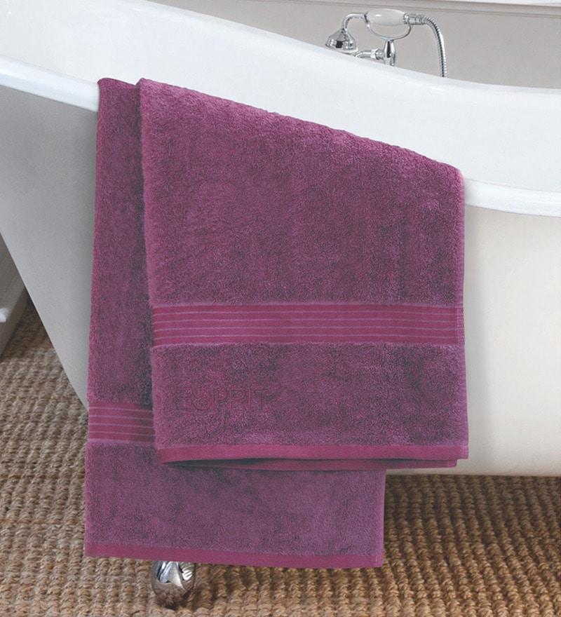 Multicoloured Purple Cotton Bath Towel by ESPRIT