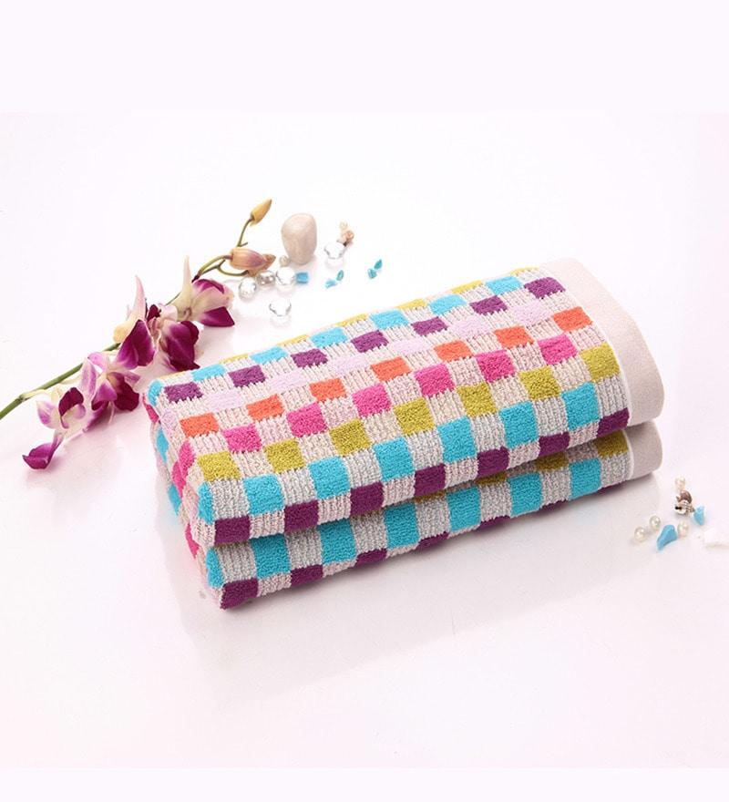 Lasa Seasons Checkered Pink Cotton Bath Towel by Spread
