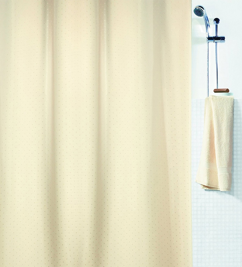 Ricco Yellow Polyester Shower Curtain by Spirella