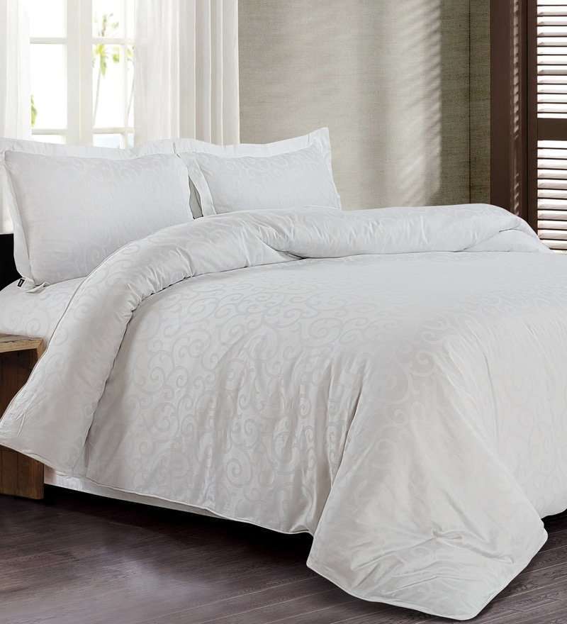 White 100% Cotton Double Size Duvet Cover by Spread