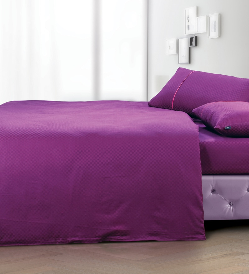 Wine 100% Cotton Double Size Duvet Cover by Spread