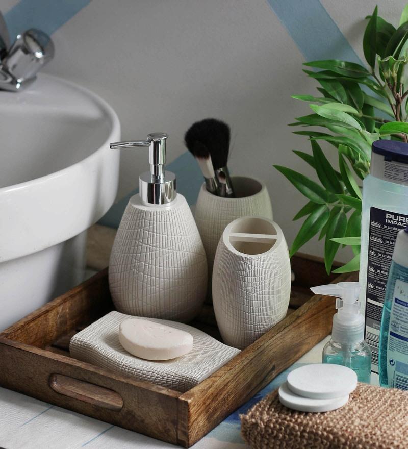 White ceramic bathroom accessories set home design plan for Cream bathroom set