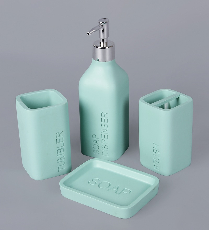 Buy ss silverware green ceramic bathroom accessories set for Ceramic bathroom accessories