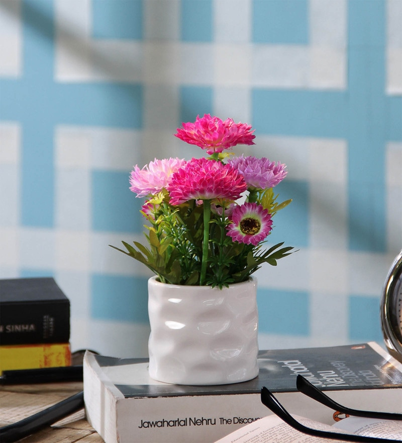 SS Silverware Multicolour Porcelain Artificial Round Flower with Pot