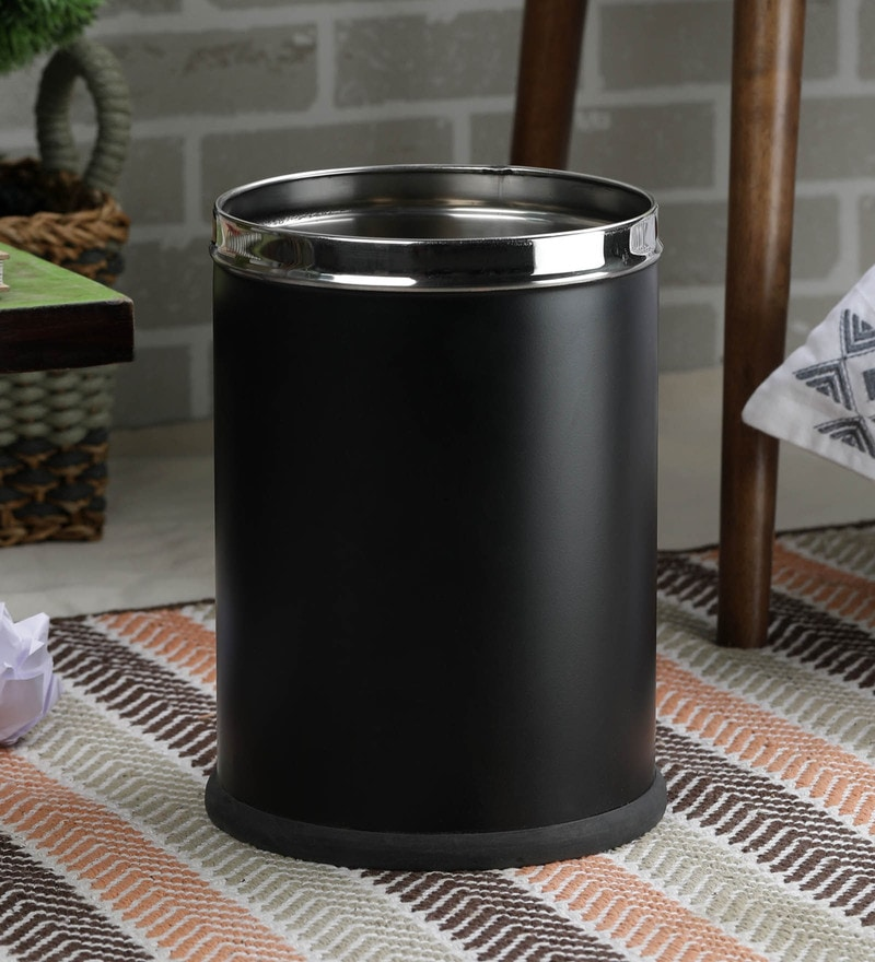 SS Silverware Stainless Steel 7 L Black Plain Open Dustbin