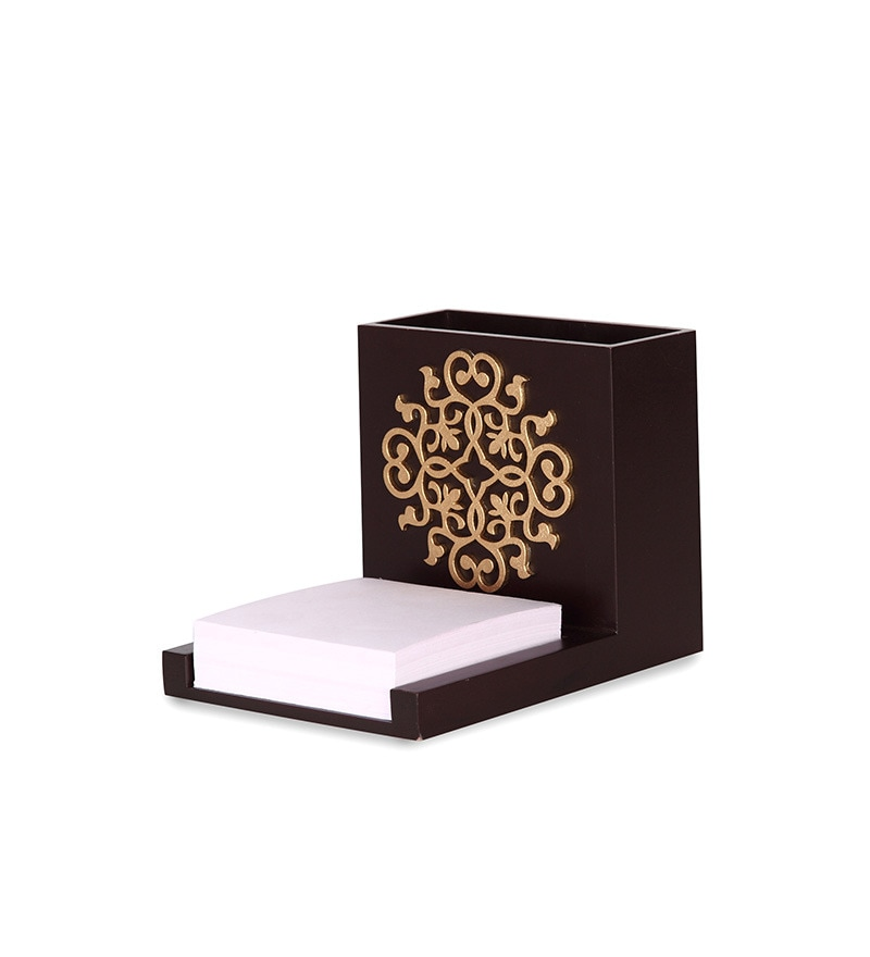 Brown Wooden Carved Pen Stand by Cocktail