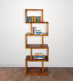 Stacked Boxes Design Book Shelf In Golden Oak Finish By Wooden Emporium