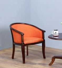 Stalley Arm Chair In Orange Color With Warm Chestnut Finish