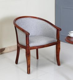 Superieur Stalley Solid Wood Arm Chair With Grey Upholstery In Honey Oak Finish