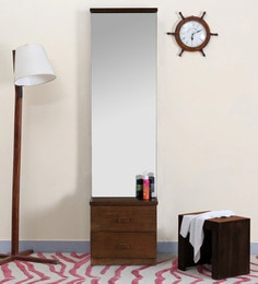 Stanford Dressing Table With Mirror In Brown Finish