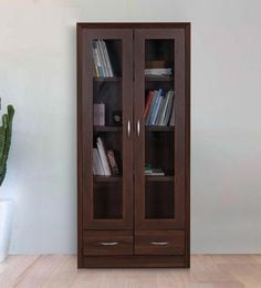 Stark Book Case Cum Filing Cabinet With Drawers In Walnut Finish