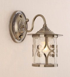 Stello Antique Brass Metal And Glass Wall Light