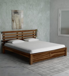 wooden furniture box beds. Stigen Solid Wood Queen Size Bed In Provincial Teak Finish Wooden Furniture Box Beds S