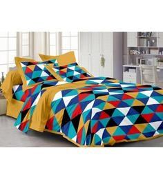Story@Home Yellow Cotton Abstract Double Bed Sheet (with Pillow Covers) - Set Of 3