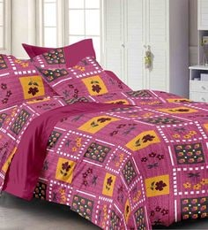 Story@Home 120 TC 100% Cotton Maroon 1 Double Bedsheet With 2 Pillow Cover