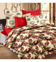 Story@Home Multicolour 100% Cotton 93 X 108 Inch Valentine Bed Sheet Set - 1597453