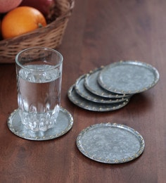 Strawberry Collective Galvanised Brass Coasters, Set Of 6