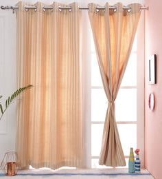 Stripes Design White Dupion Silk Premium Eyelet Curtain Window