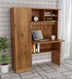 Study Table With Book Shelves U0026 Cabinet In Knotty Wood Finish