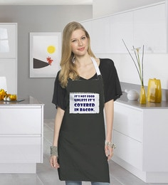 Stybuzz Its Not Food Until Its Covered In Bacon Black Cotton Kitchen Aprons