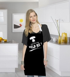 Stybuzz Yes You Can Help Me Black Cotton Kitchen Aprons