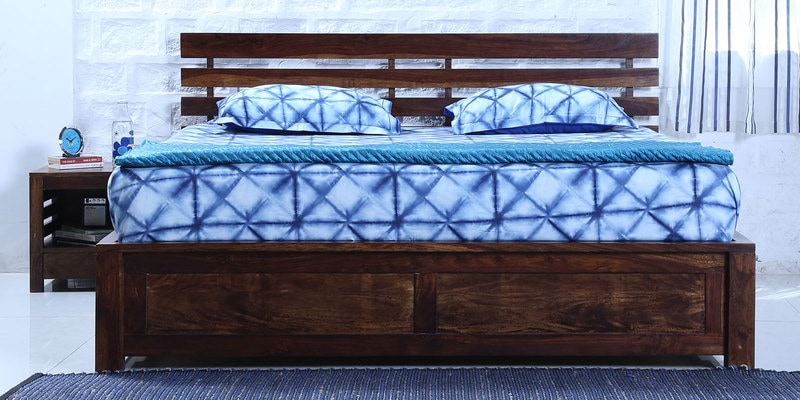 Stigen Solidwood Queen Bed with Box Storage in Provincial Teak Finish by Woodsworth