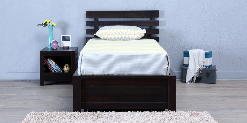 Stigen Single Bed with Storage in Warm Chestnut Finish by Woodsworth