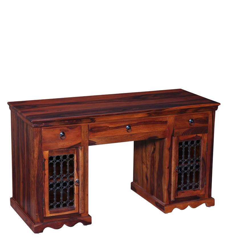 Buy Stafford Solid Wood Study Table In Honey Oak Finish By