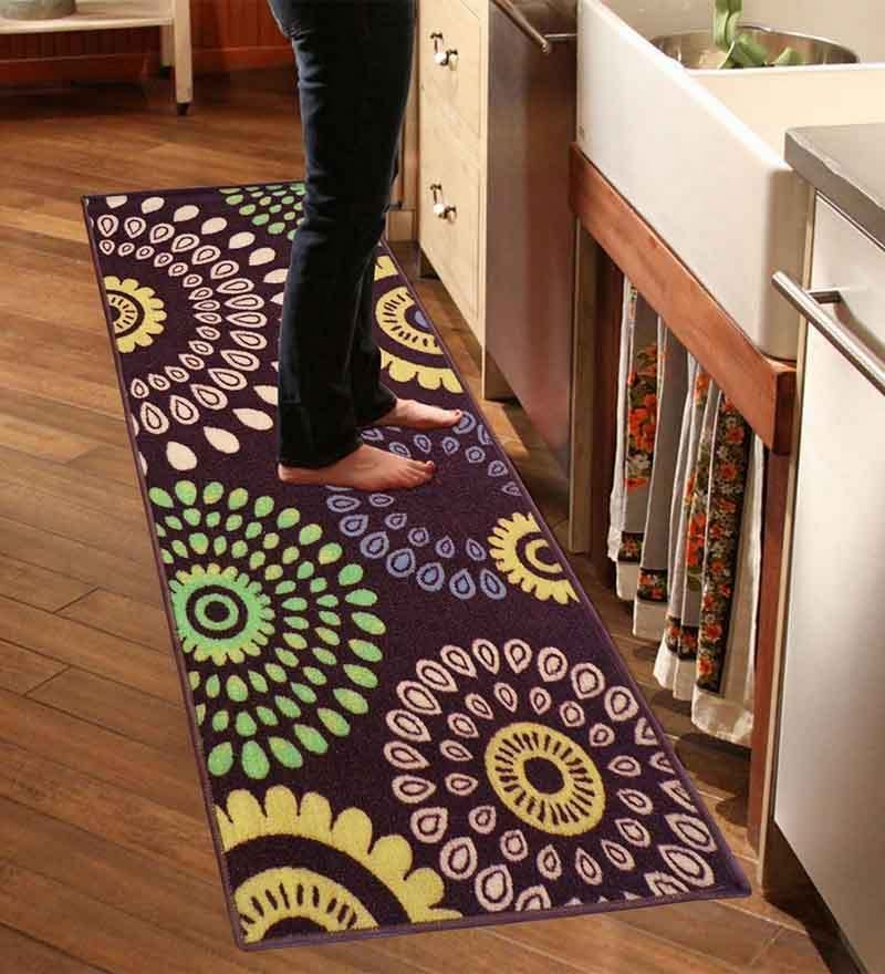 Brown Nylon Floral Runner by Status