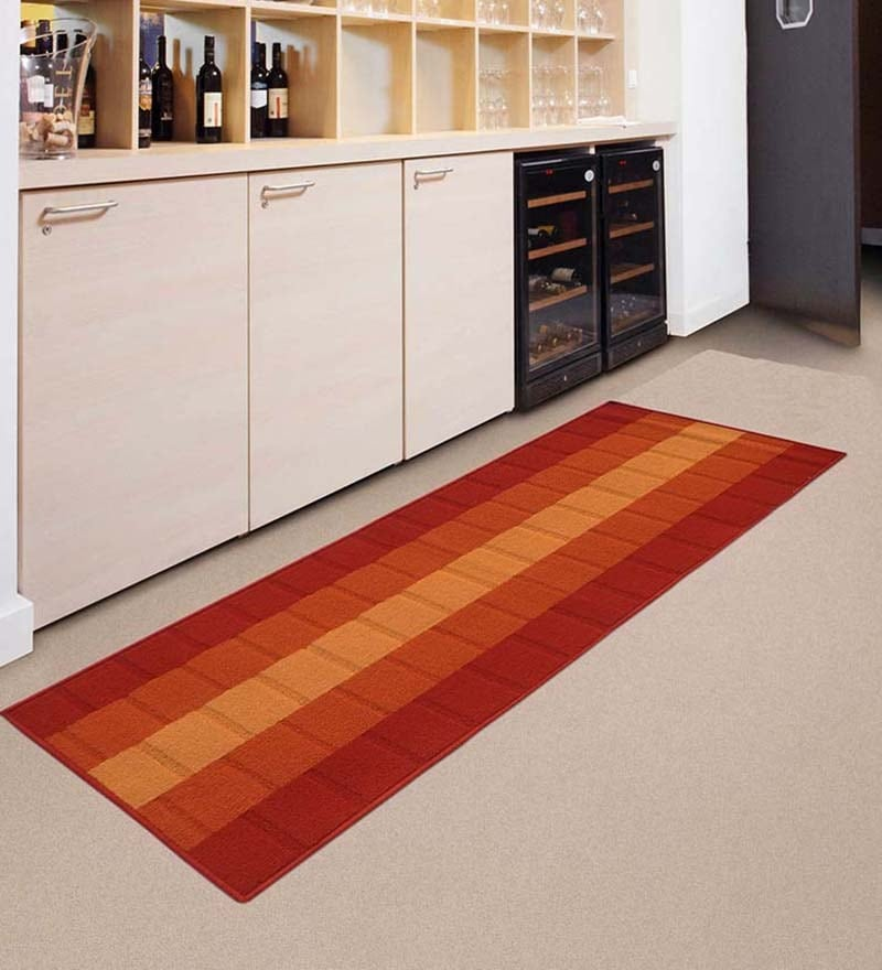 Orange Nylon Striped & Checkered Rectangular Runner by Status