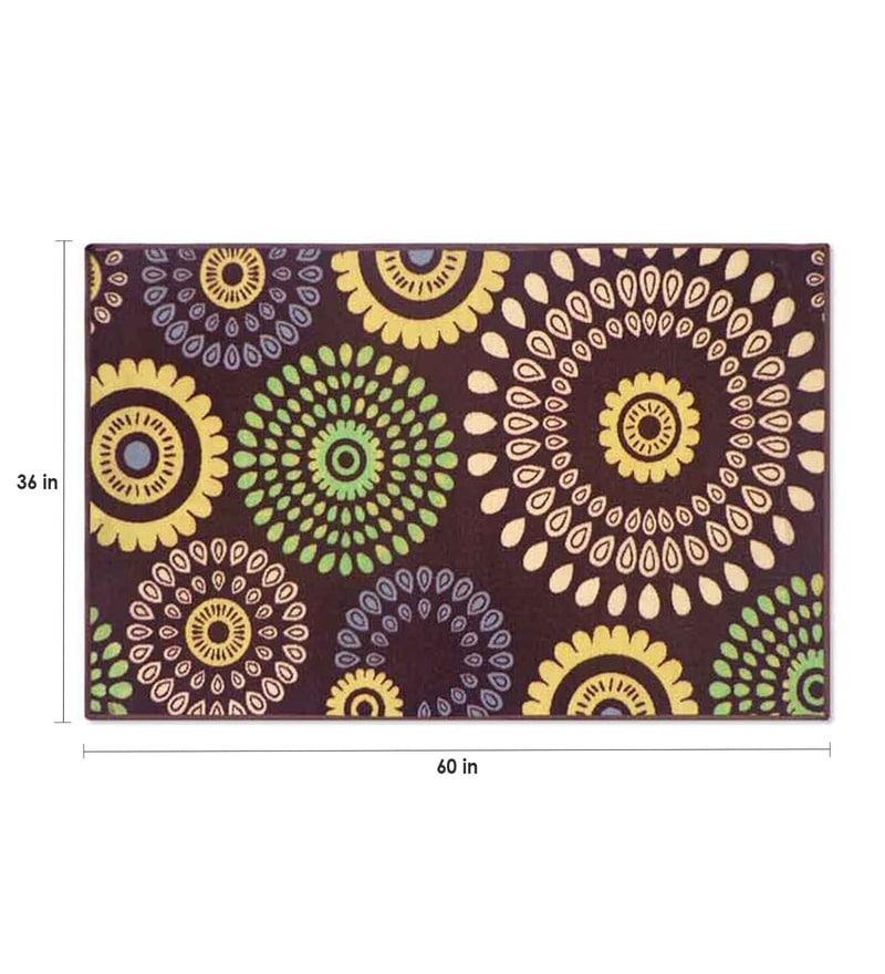 Buy Floral Nylon 5 X 3 Feet Machine Made Carpet By Status