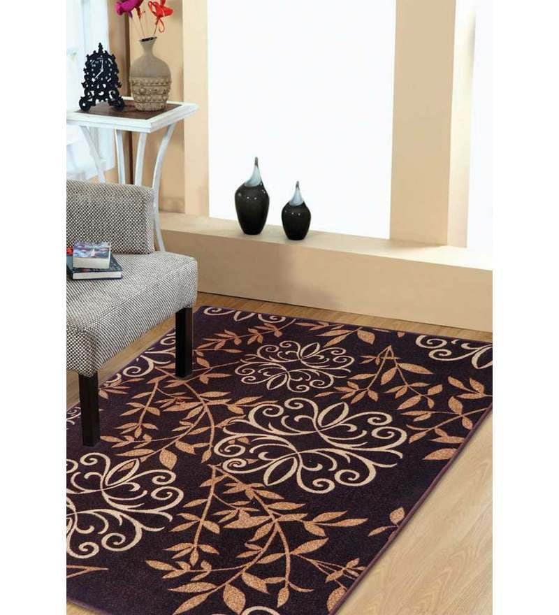 Brown Floral Print Taba Rug by Status