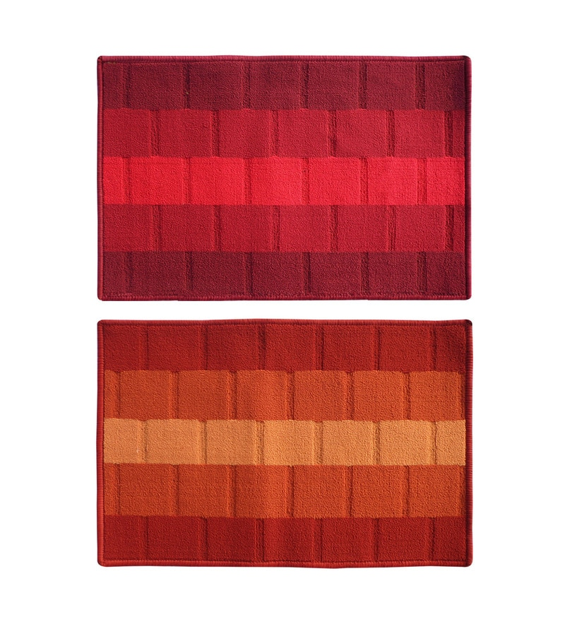 Red Delure 23 x 15 Inch Bricked Door Mat- Set of 2 by Status