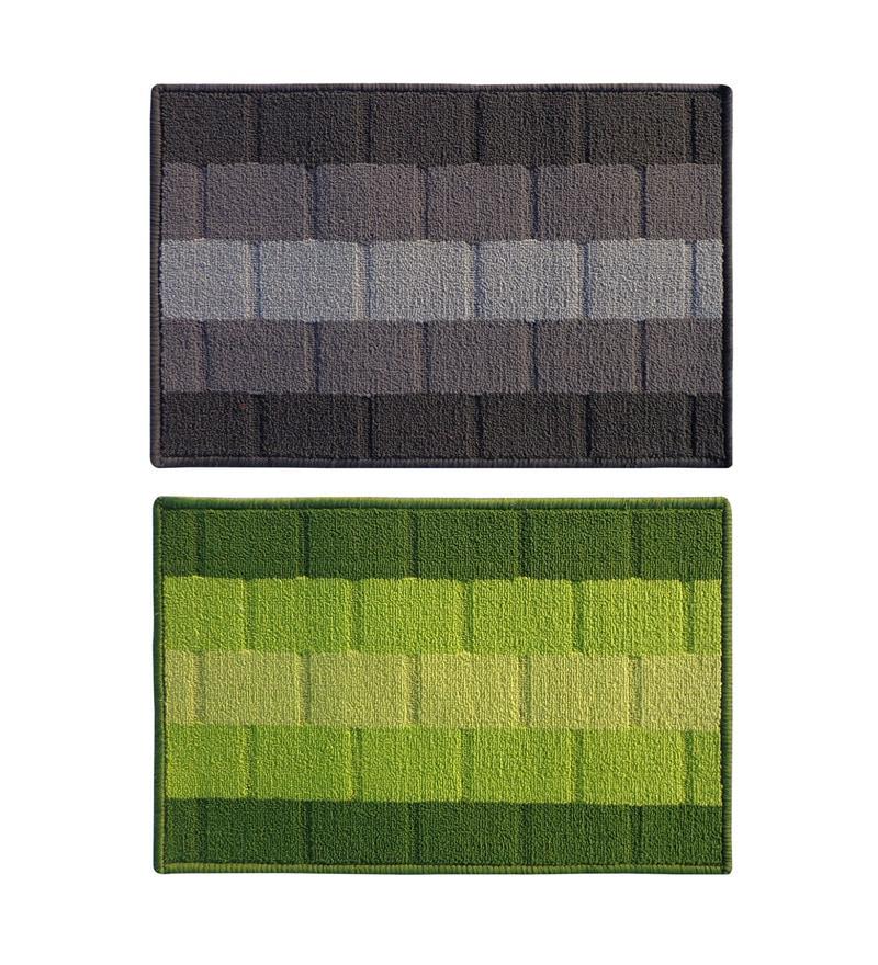 Grey & Green Delure 23 x 15 Inch Bricked Door Mat - Set of 2 by Status