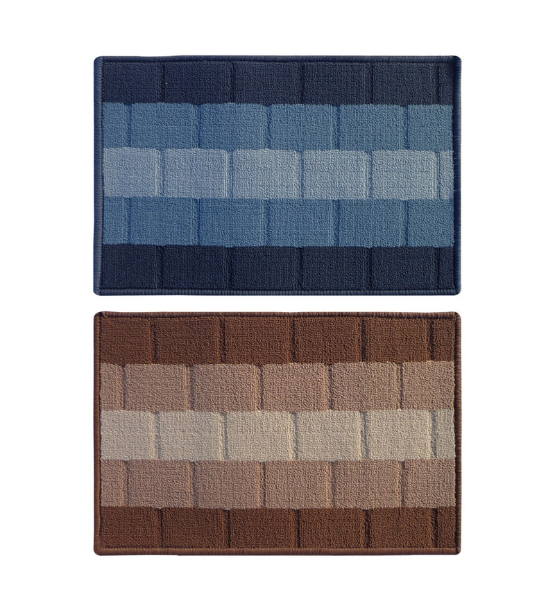 Blue and Brownm Bricked Delure Doormats Set - 2pcs by Status