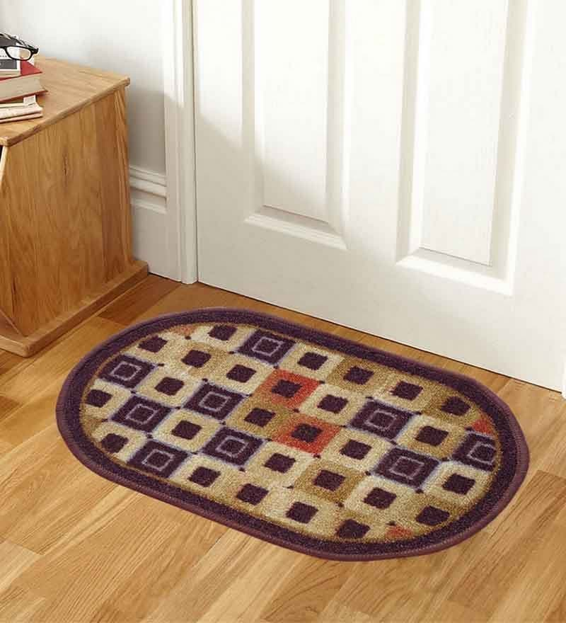 Brown Nylon 23 x 15 Inch Taba Abstract Oval Shape Door Mat by Status