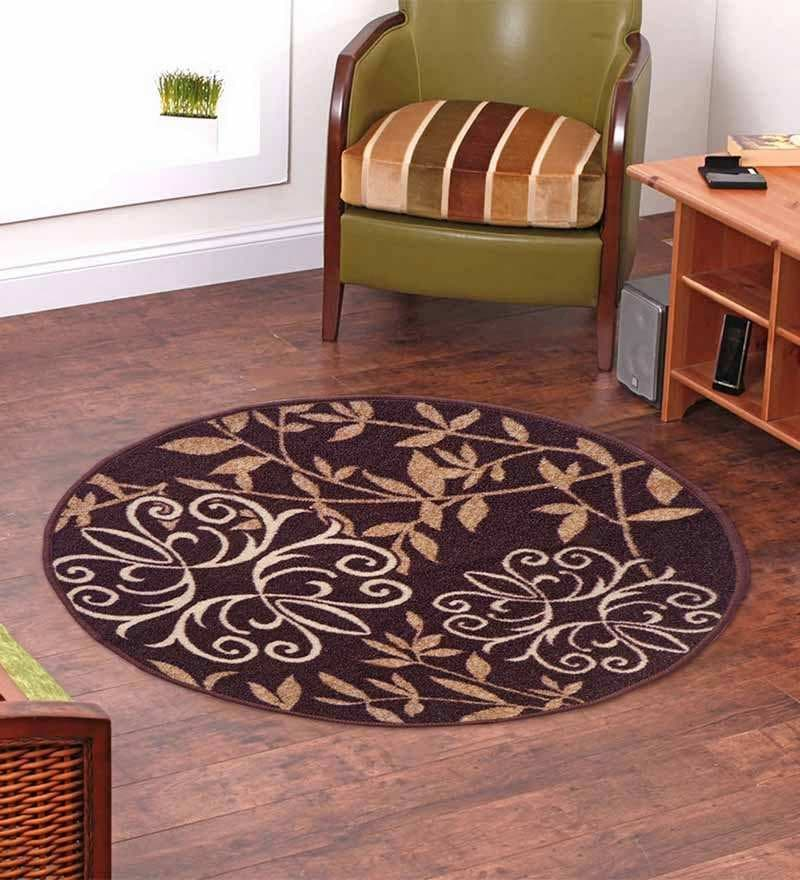 Taba Round Small Rug Floral Brown by Status