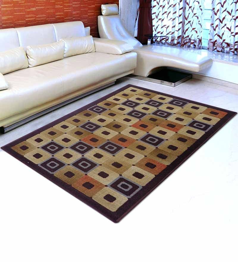 Brown Nylon Striped & Checkered Area Rug by Status