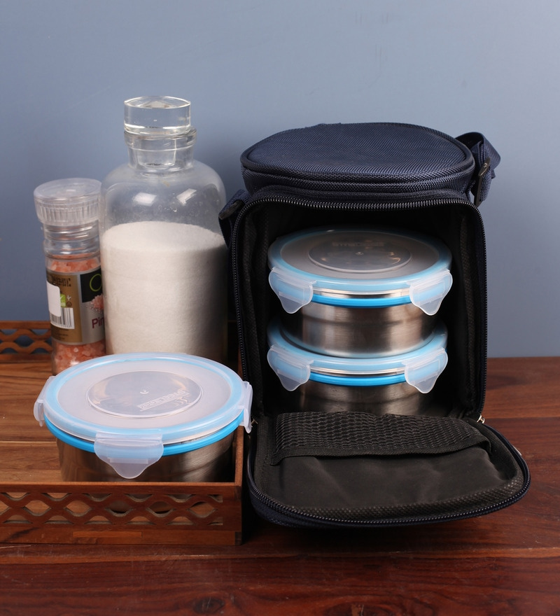 Steel Lock Airtight 3 pc Tiffin Box with Insulated Bag